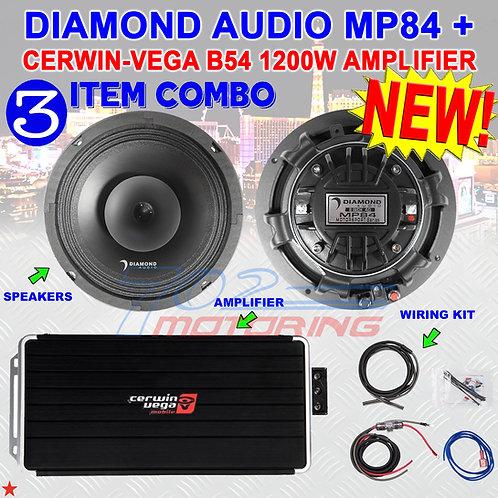 """DIAMOND AUDIO MP84 8"""" PRO FULL-RANGE CO-AX HORN SPEAKERS + CERWIN-VEGA B54 AMP"""
