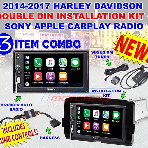 2014 - 2020 HARLEY DAVIDSON SONY DDIN MULTIMEDIA RADIO KIT CARPLAY + SATELLITE