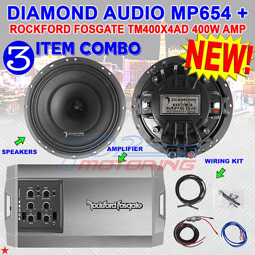 "DIAMOND AUDIO MP654 6.5"" PRO FULL-RANGE CO-AX HORN SPEAKERS + R.F. TM400X4AD AMP"