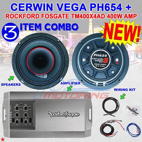 """CERWIN VEGA PH654 6.5"""" FULL-RANGE CO-AX HORN SPEAKERS + R.F. TM400X4AD AMPLIFIER"""