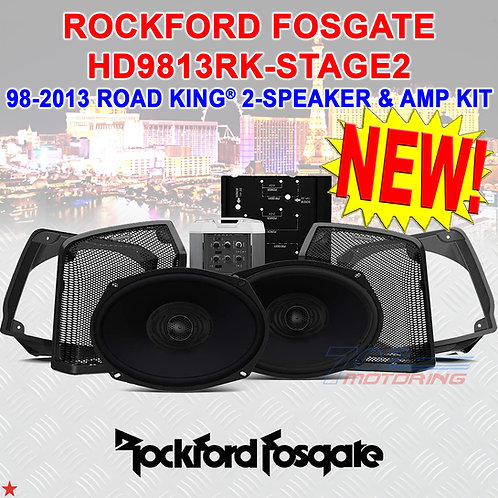1998-2013 ROAD KING® 2-SPEAKER & AMP KIT ROCKFORD FOSGATE HD9813RK-STAGE2