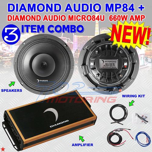 "DIAMOND AUDIO MP84 8"" PRO FULL-RANGE CO-AX HORN SPEAKERS + MICRO84U AMPLIFIER"