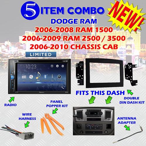 06 07 08 09 10 DODGE RAM CAR STEREO RADIO DOUBLE DIN INSTALL DASH PANEL KIT 59