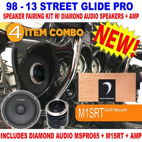 1998 - 2013 STREET GLIDE PRO SPEAKER FAIRING KIT DIAMOND AUDIO MSPRO65 MICRO4V2