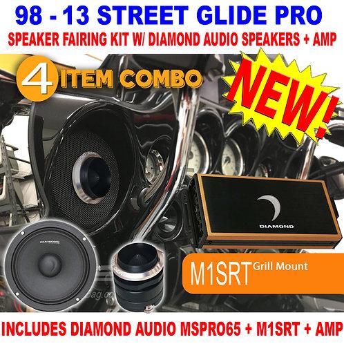 1998 - 2013 STREET GLIDE PRO SPEAKER FAIRING KIT DIAMOND AUDIO MSPRO65 MICRO84U