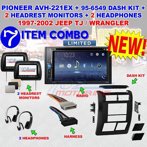 97-02 SELECT JEEP PIONEER AVH-221EX 2 HEADREST MONITORS 2 HEADPHONES 95-6549