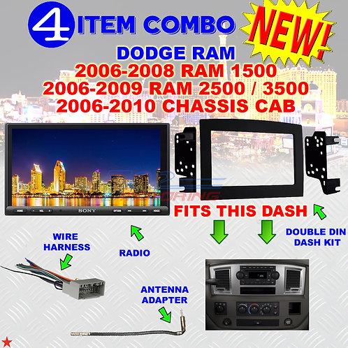06 07 08 09 10 DODGE RAM CAR STEREO RADIO DOUBLE DIN INSTALL DASH PANEL KIT DR65