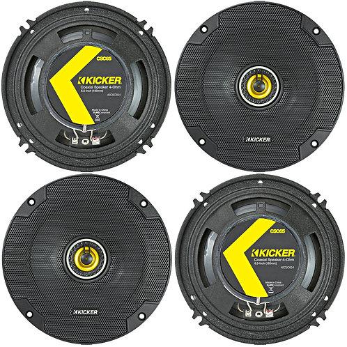 "(4) KICKER 46CSC654 CSC65 6.5"" 6-1/2"" 1200W 4-Ohm CAR AUDIO COAX SPEAKERS 2 Pair"