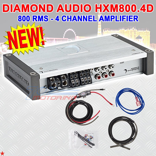DIAMOND AUDIO® HXM800.4D MOTORSPORT-SERIES 800 RMS 4-CHANNEL CLASS-D AMPLIFIER