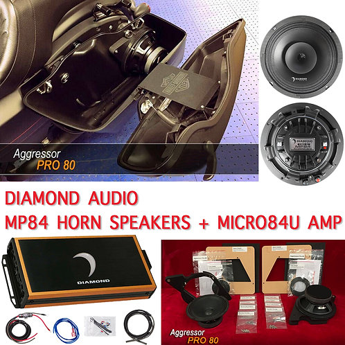"AGGRESSOR PRO 80 PAIR / 98 -UP HARLEY 8"" KIT+ MP84 HORN SPEAKERS + MICRO84U AMP"
