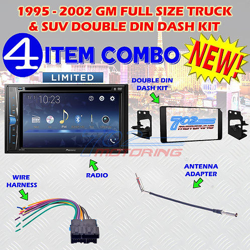 1995-2002 GM FULL SIZE TRUCK & SUV DOUBLE DIN CAR STEREO INSTALLATION DASH KIT 5