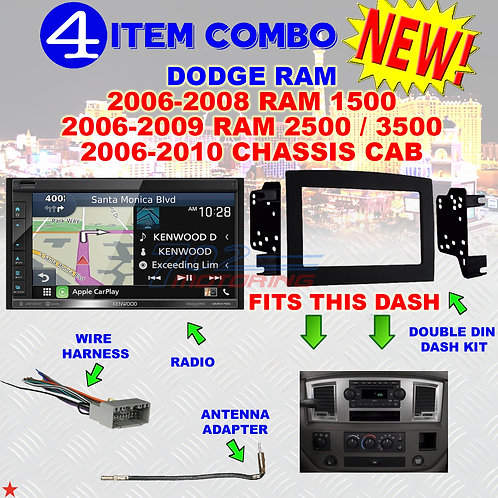 06 07 08 09 10 DODGE RAM CAR STEREO RADIO DOUBLE DIN INSTALL DASH PANEL KIT DR59