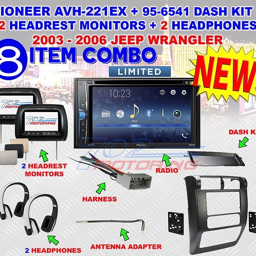 02-06 JEEP WRANGLE PIONEER AVH-221EX, 2 HEADREST MONITORS, 2 HEADPHONES, 95-6541