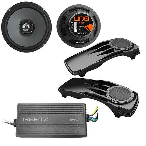 """HARLEY 98-2013 SADDLE BAG LIDS + HERTZ HMP 4D AMP + X165 6.5"""" SPEAKER KIT NEW!"""