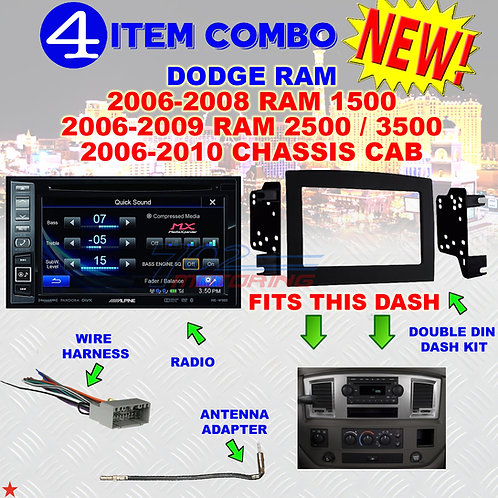 06 07 08 09 10 DODGE RAM CAR STEREO RADIO DOUBLE DIN INSTALL DASH KIT DR69
