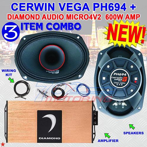 """CERWIN VEGA PH694 6""""X9"""" FULL-RANGE CO-AX HORN SPEAKERS + DIAMOND AUDIO MICRO4V2"""