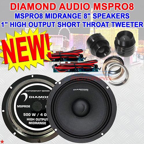 "DIAMOND AUDIO MOTORSPORT SERIES MSPRO8 8"" MIDRANGE SPEAKERS + M1SRT TWEETERS"