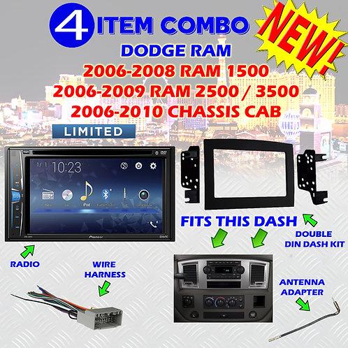 06 07 08 09 10 DODGE RAM CAR STEREO RADIO DOUBLE DIN INSTALL DASH PANEL KIT DR32