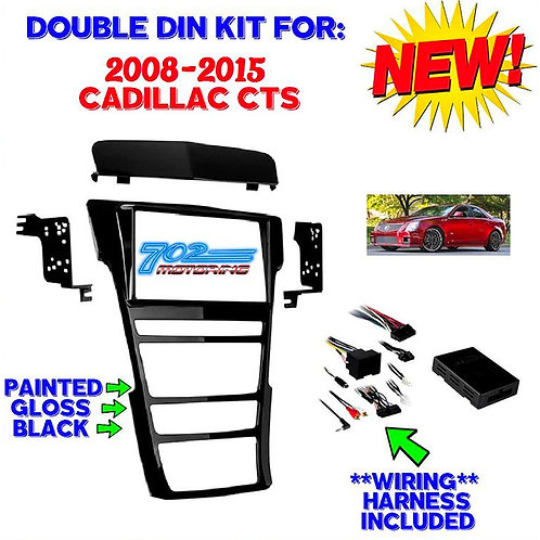 CADILLAC 2008-2015 CTS GLOSS BLACK DOUBLE DIN RADIO INSTALL KIT WITH INTEGRATION