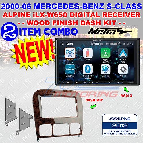 95-8726W MERCEDES-BENZ S CLASS 98-2006 2DIN DASH KIT CHERRY WOOD FINISH iLX-W650