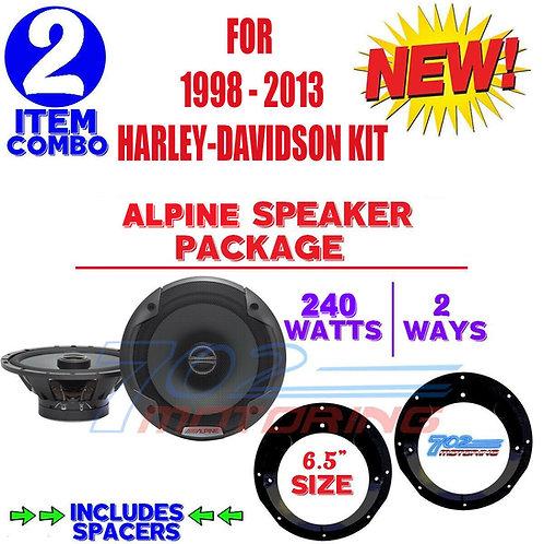 FOR HARLEY DAVIDSON TOURING ALPINE SPEAKER PACKAGE & ADAPTER KIT STEREO RADIO