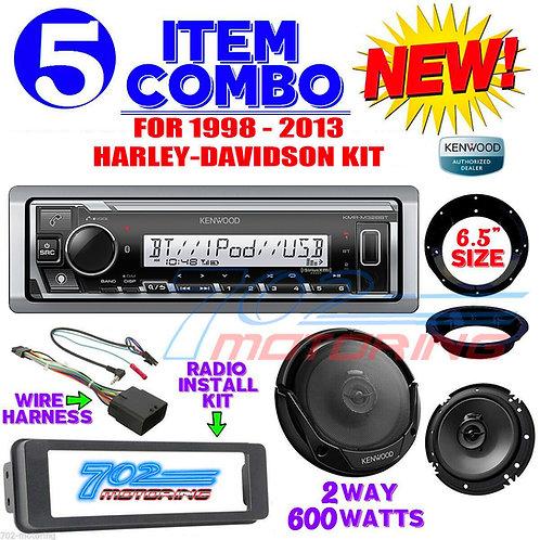 iPOD MARINE RADIO FOR HARLEY FLHT INSTALL FLHX KIT KENWOOD 6.5 SPEAKERS ADAPTERS