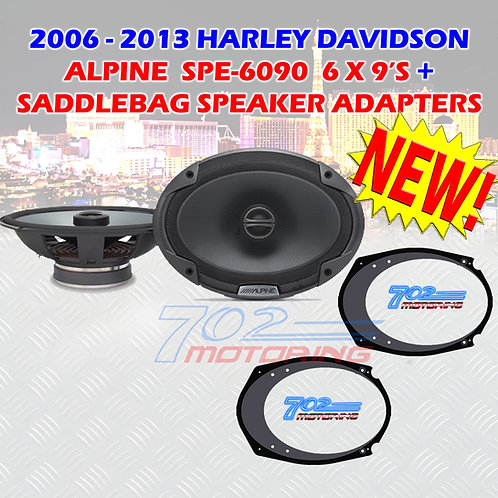 6X9 ALPINE SPE-6090 FOR HARLEY DAVIDSON + 5X7 - 6X9 INCH SPEAKER ADAPTERS TOURIN