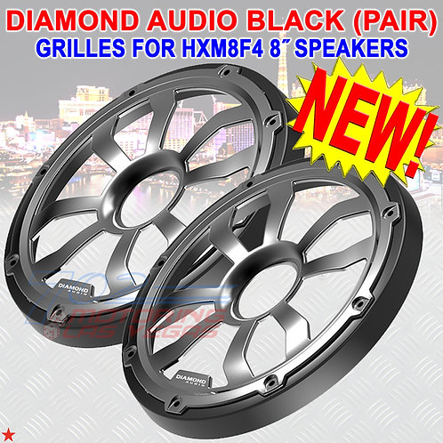 DIAMOND AUDIO HXM8FGB GRILLES (BLACK) FOR HARLEY 8″ FLUSH MOUNT SPEAKERS PAIR