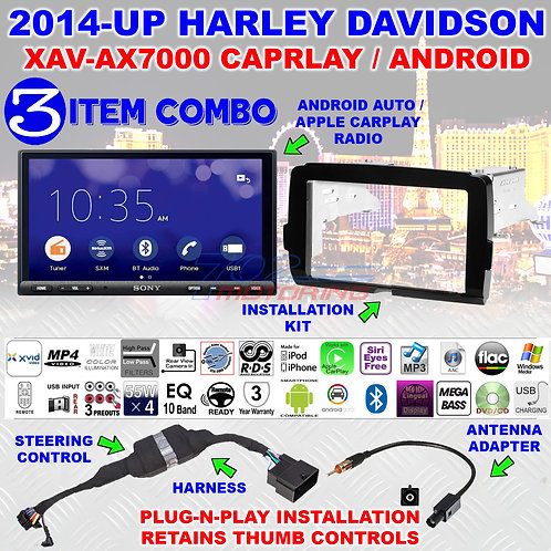 FOR 2014-2020 HARLEY DAVIDSON 2 DIN TOUCH SCREEN RADIO KIT WITH SONY XAV-AX7000