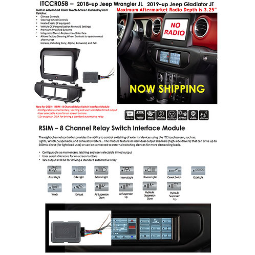 18 - UP JEEP WRANGLER INTEGRATED TOUCHSCREEN (ITC 2.0) DOUBLE DIN DASH BEZEL KIT