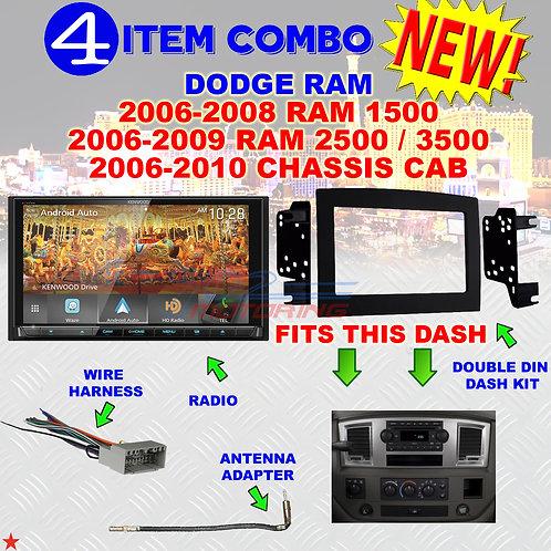 06 07 08 09 10 DODGE RAM CAR STEREO RADIO DOUBLE DIN INSTALL DASH PANEL KIT DR13