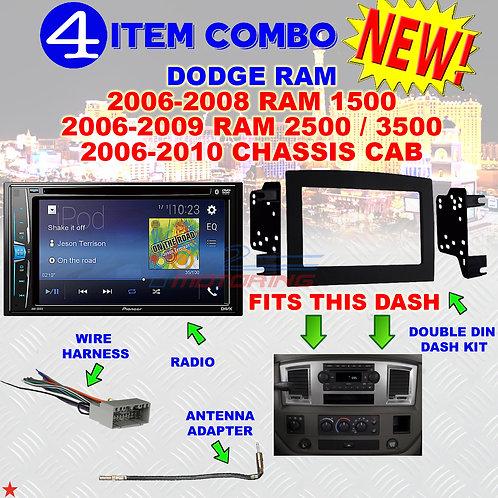 06 07 08 09 10 DODGE RAM CAR STEREO RADIO DOUBLE DIN INSTALL DASH PANEL KIT DR30