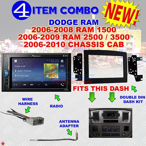 06 07 08 09 10 DODGE RAM CAR STEREO RADIO DOUBLE DIN INSTALL DASH PANEL KIT DR43