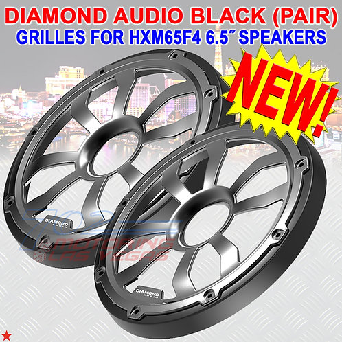 DIAMOND AUDIO HXM65FGB MARINE GRILLES (BLACK) FOR 6.5″ FLUSH MOUNT SPEAKERS PAIR