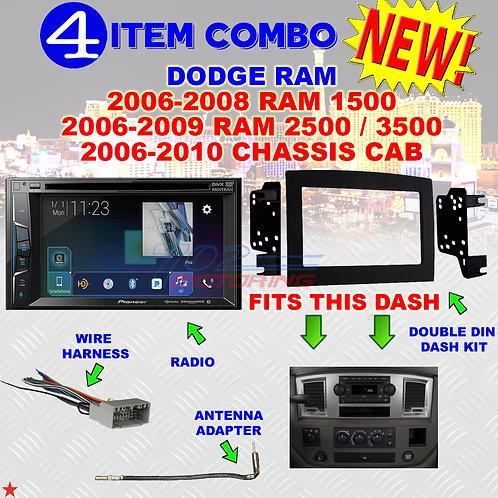 06 07 08 09 10 DODGE RAM CAR STEREO RADIO DOUBLE DIN INSTALL DASH PANEL KIT DR54