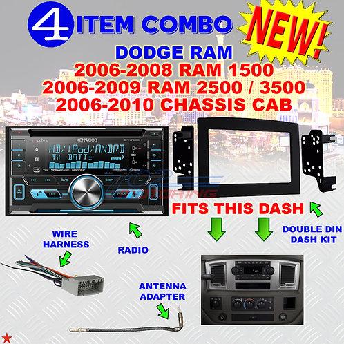 06 07 08 09 10 DODGE RAM CAR STEREO RADIO DOUBLE DIN INSTALL DASH PANEL KIT DR22