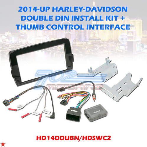 2014-20 HARLEY RADIO INSTALL ADAPTER W THUMB CONTROL DASH KIT STEREO CD DAVIDSON