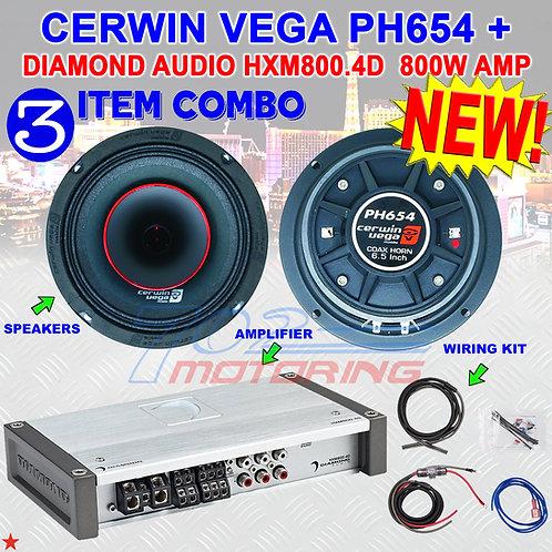 """CERWIN VEGA PH654 6.5"""" FULL-RANGE CO-AX HORN SPEAKERS + DIAMOND AUDIO HXM800.4D"""