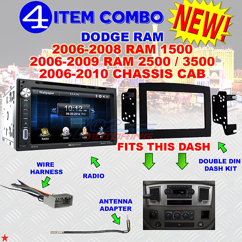 06 07 08 09 10 DODGE RAM CAR STEREO RADIO DOUBLE DIN INSTALL DASH PANEL KIT DR78
