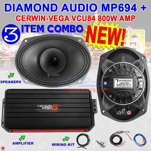 DIAMOND AUDIO MP694 6X9 PRO FULLRANGE COAX HORN SPEAKERS + CERWIN-VEGA VCU84 AMP