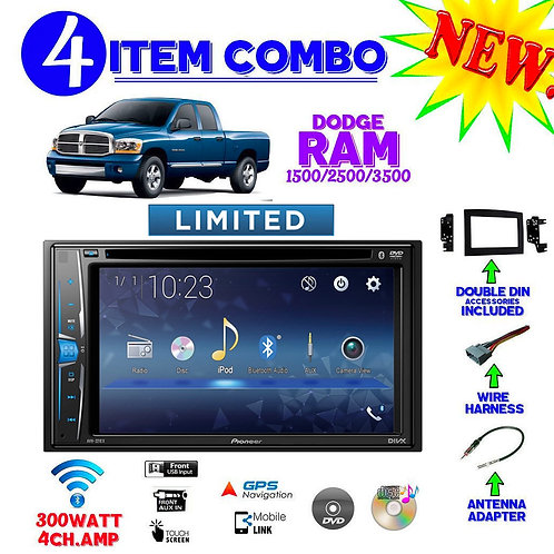 06 07 08 09 10 DODGE RAM DOUBLE DIN BLUE TOOTH STEREO RADIO DVD CD DASH KIT INST