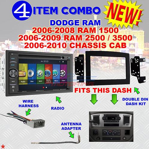 06 07 08 09 10 DODGE RAM CAR STEREO RADIO DOUBLE DIN INSTALL DASH PANEL KIT DR76
