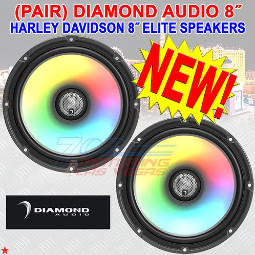 "DIAMOND AUDIO HXM8F4 SPEAKERS FOR HARLEY-DAVIDSON 2-WAY 8"" FLUSH MOUNT 4Ω NEW!"
