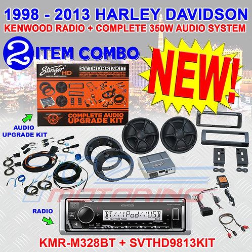 STINGER SVTHD9813KIT + KENWOOD RADIO SPEAKER AMP FOR 98-2013 HARLEY KMR-M328BT