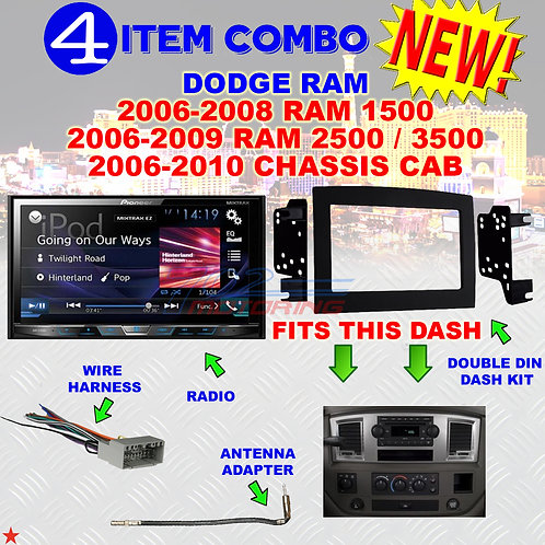 06 07 08 09 10 DODGE RAM CAR STEREO RADIO DOUBLE DIN INSTALL DASH PANEL KIT DR51