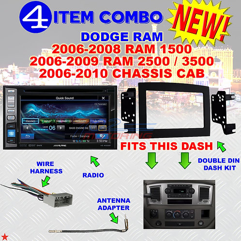 06 07 08 09 10 DODGE RAM CAR STEREO RADIO DOUBLE DIN INSTALL DASH PANEL KIT DR67
