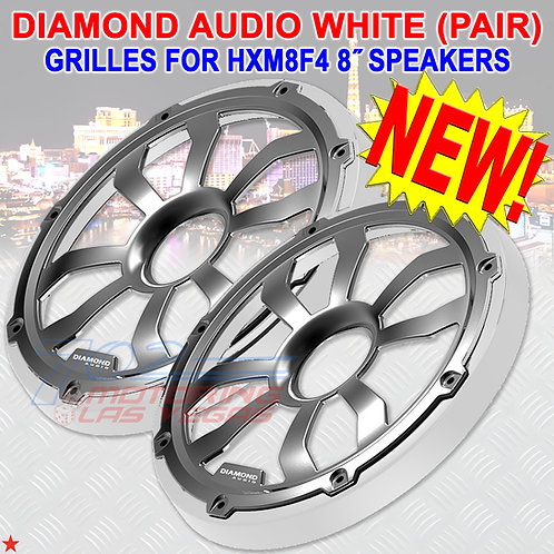 DIAMOND AUDIO HXM8FGW MARINE GRILLES (WHITE) FOR 8″ FLUSH MOUNT SPEAKERS PAIR
