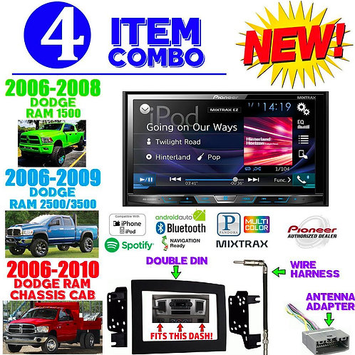06-10 DODGE RAM AVH-X5800BHS + 95-6528B + HARNESS + ANTENNA ADAPTER