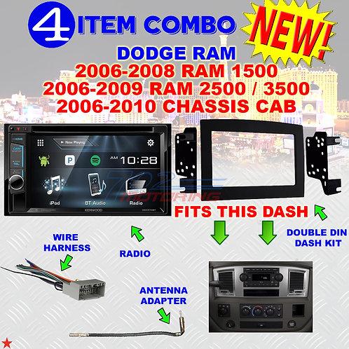 06 07 08 09 10 DODGE RAM CAR STEREO RADIO DOUBLE DIN INSTALL DASH PANEL KIT DR02