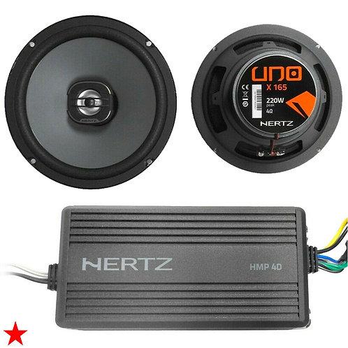 HARLEY DAVIDSON BIKE ELECTRONICS HERTZ AMP + SPEAKER KIT HMP 4D 4CH + X165 NEW!